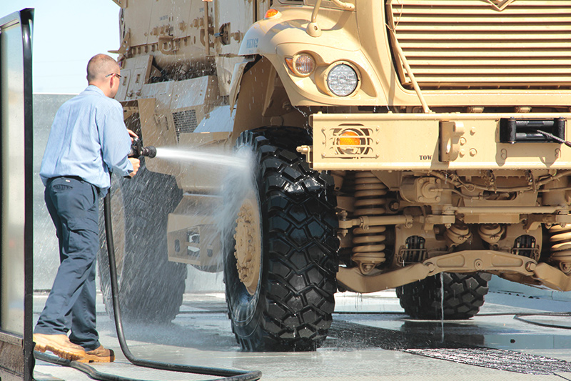 spraying off equipment