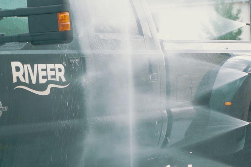 water spraying truck