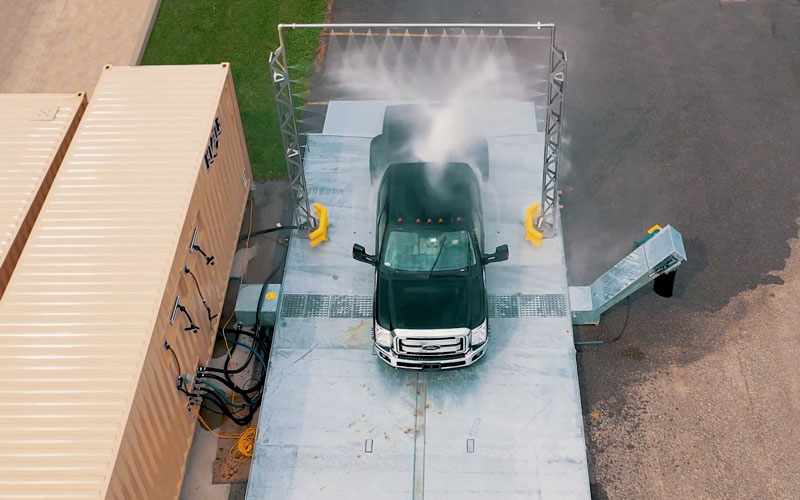 truck being washed